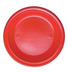Prato Plastico PS Raso Vermelho Ø280mm (10 Unidades)