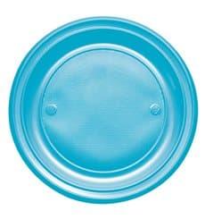 Prato Plastico PS Raso Turquesa Ø220mm (30 Unidades)