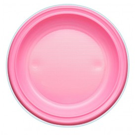 Prato Plastico PS Raso Rosa Ø220mm (30 Unidades)