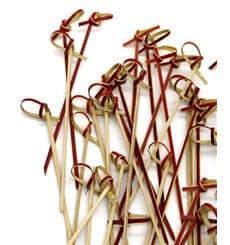 Pick Bambu Decorado Laço Vermelho 90mm (200 Unidades)