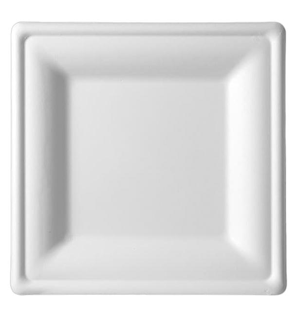 Prato Quadrado Bio cana-de-açúcar Branco 200x200mm (50 Uds)