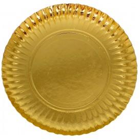 Prato de Cartão Redondo Ouro 230 mm (100 Uds)