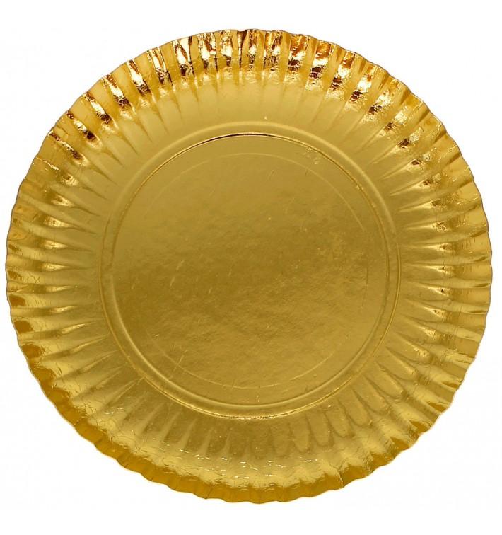 Prato de Cartão Redondo Ouro 230 mm (500 Uds)