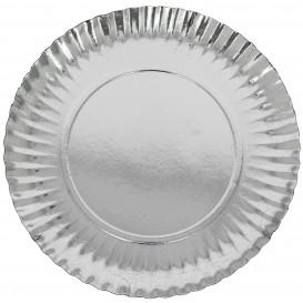 Prato de Cartão Redondo Prata 230 mm (100 Uds)