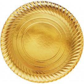 Prato de Cartão Ouro Redondo 300 mm (100 Uds)