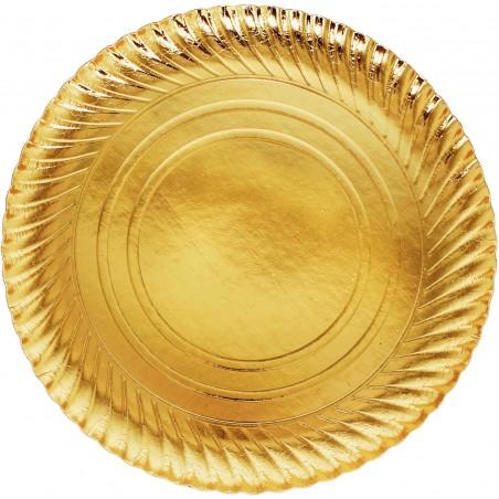 Prato de Cartão Ouro Redondo 300mm (200 Unidades)
