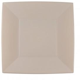 Prato Plastico Raso Quadrado Prata 290mm (12 Uds)