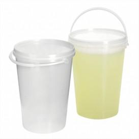 Balde Cilíndrico com Tampa Transparente 1000 ml (10 Uds)