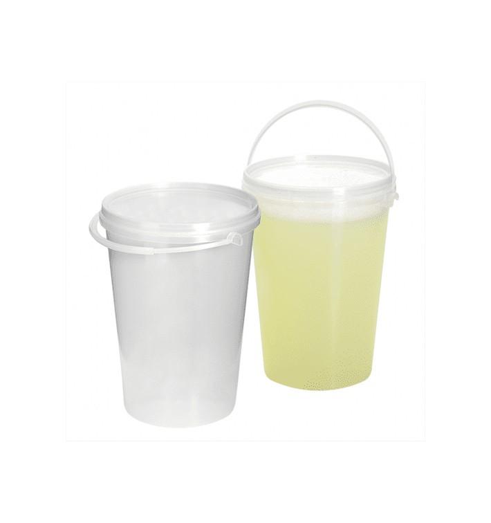 Balde Cilíndrico com Tampa Transparente 1000 ml (200 Uds)