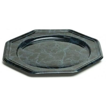 BaixoPrato Plastico Luxo Octog. Marmore 30 cm (5 Uds)