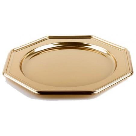 BaixoPrato Plastico Luxo Octog. Ouro 30 cm (50 Uds)