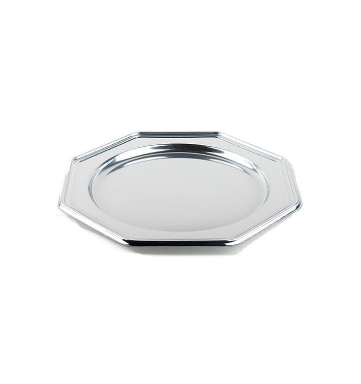 BaixoPrato Plastico Luxo Octog. Prata 30 cm (5 Uds)
