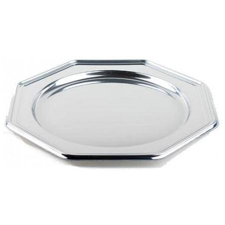 BaixoPrato Plastico Luxo Octog. Prata 30 cm (50 Uds)