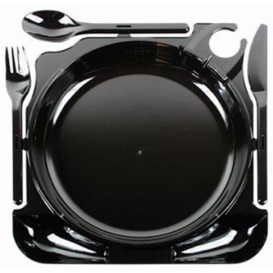 Prato Plástico Caterplate Preto (12 Uds)