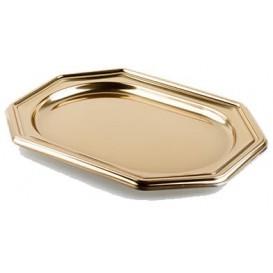 Bandeja Plastico Luxo Octog. Ouro 36x24 cm (50 Uds)