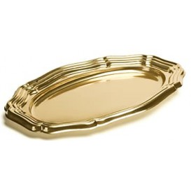 Bandeja Plastico Luxo Oval Ouro 40x27 cm (5 Uds)