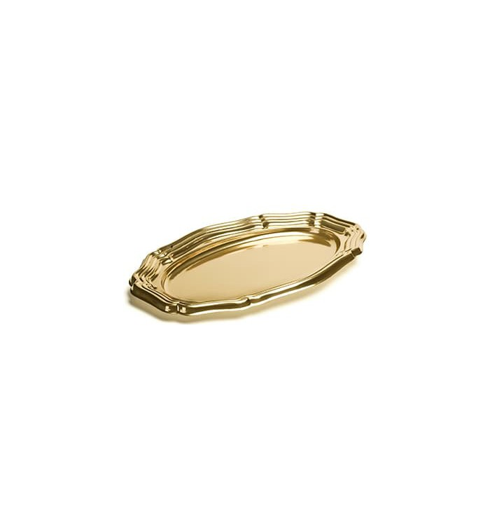 Bandeja Plastico Luxo Oval Ouro 40x27 cm (50 Uds)