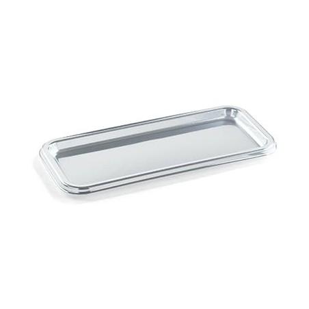 Bandeja Plastico Luxo Retang. Prata 35x16cm (50 Uds)