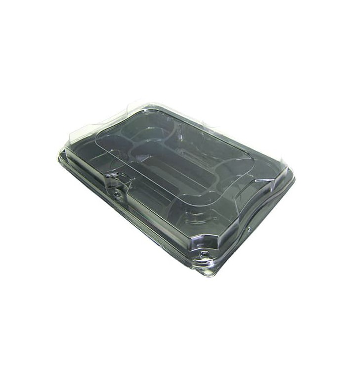 Bandeja Plastico Luxo 7 C. Preto Tapa 35x24cm (25 Uds)
