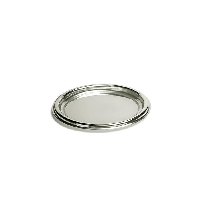 Bandeja Plastico Redonda Prata 30 cm (50 Uds)