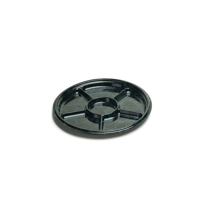 Bandeja Plastico Luxo 6 Compart. Marmore 40cm (5 Uds)