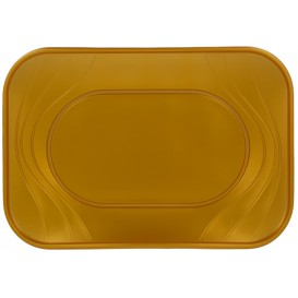 "Bandeja Plastico PP ""X-Table"" Ouro 330x230mm (2 Unidades)"