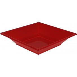 Prato Fundo Quadrado Plástico Vermelho 170mm (5 Uds)