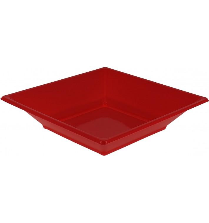 Prato Fundo Quadrado Plástico Vermelho 170mm (750 Uds)