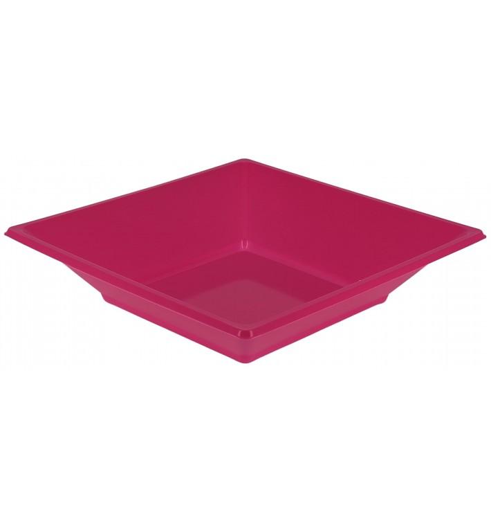 Prato Fundo Quadrado Plástico Fúcsia 170mm (750 Uds)