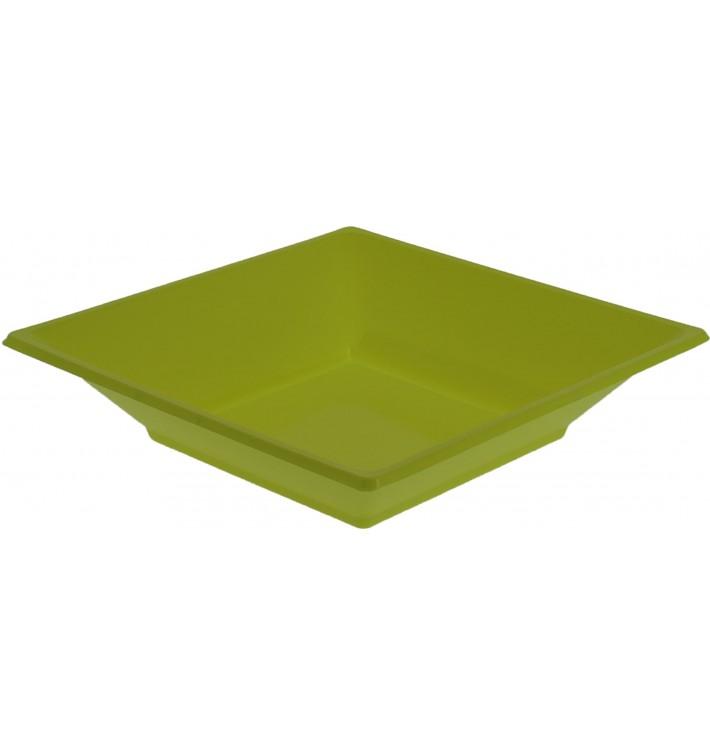 Prato Fundo Quadrado Plástico Pistache 170mm (25 Uds)