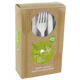 Garfo Biodegradaveis CPLA Branco 160mm em caixa (500 Uds)