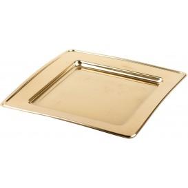 Prato Plastico PET Quadrado Ouro 24cm (6 Uds)