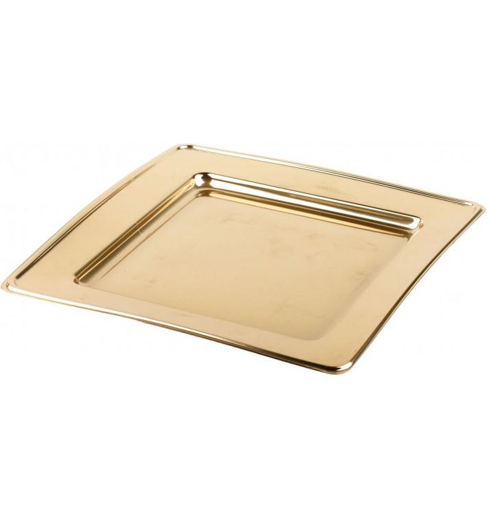 Prato Plastico PET Quadrado Ouro 30cm (4 Uds)