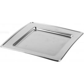 Prato Plastico PET Quadrado Prata 18cm (180 Uds)