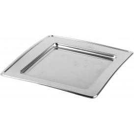 Prato Plastico PET Quadrado Prata 24cm (6 Uds)