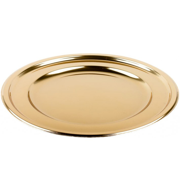 Prato Plastico PET Redondo Ouro Ø18,5cm (180 Uds)