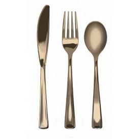 Conjunto de Garfo, faca e Colher Ouro Metalizado (10 Conjuntos)