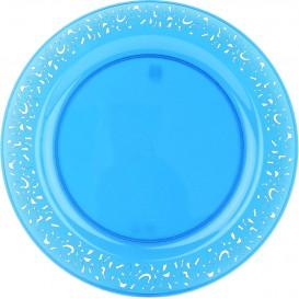 """Prato Plastico Rigido Redondo """"Lace"""" Turquesa 23cm (88 Uds)"""