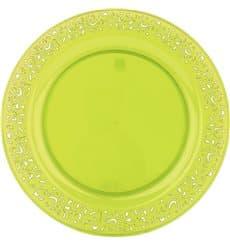 """Prato Plastico Rigido Redondo """"Lace"""" Verde 19cm (88 Uds)"""