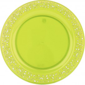 """Prato Plastico Rigido Redondo """"Lace"""" Verde 23cm (4 Uds)"""