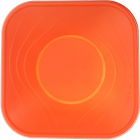 "Tigela Plastico PP ""X-Table"" Quadrada Laranja 180x180mm (120 Uds)"