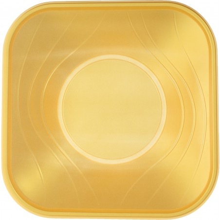 Tigela Plastico Quadrada Ouro PP 180x180mm (8 Uds)
