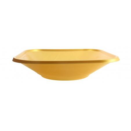 "Tigela Plastico PP ""X-Table"" Quadrada Ouro 180x180mm (120 Uds)"