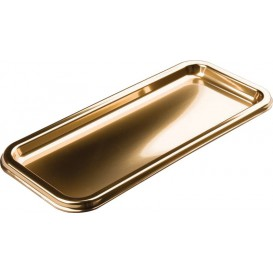 Bandeja Plastico Luxo Retang.Ouro 35x16cm (50 Uds)