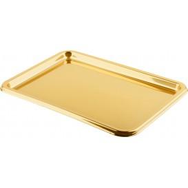 Bandeja Plastico Luxo Retang. Ouro 35x24cm (50 Uds)