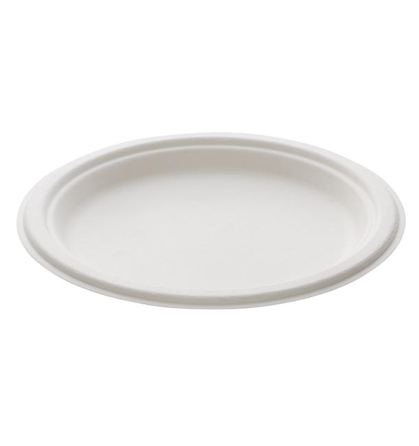 Prato Bio da cana-de-açúcar Branco Ø230mm (400 Uds)