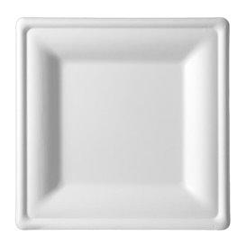 Prato Quadrado Bio cana-de-açúcar Branco 20x20cm (25 Uds)