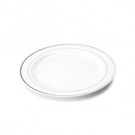 Prato Plástico Rigido Bordo Prata 19cm (10 Uds)