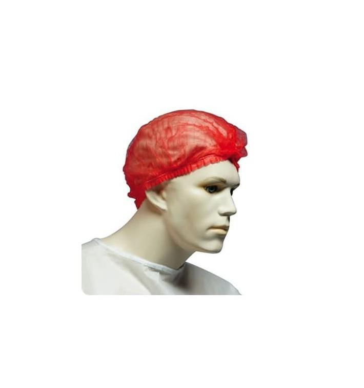 Touca de Polipropileno Acordeão Vermelho 2 Elásticos Ø53cm (100 Uds)