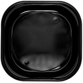 Prato Plastico Quadrado PS Raso Preto 200x200mm (30 Unidades)